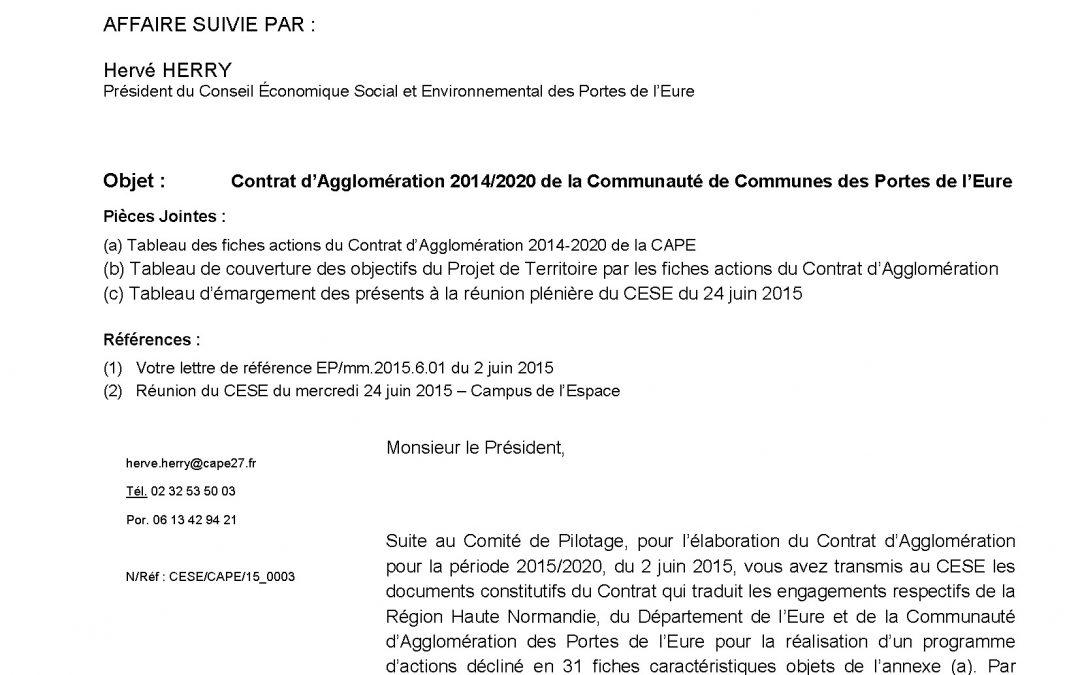 Lettre : Contrat d'Agglomération 2014/2020